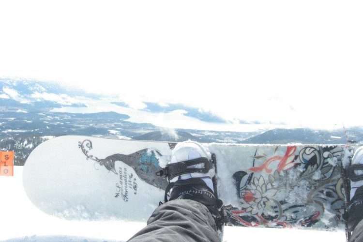 Snowboarder and winter landscape.