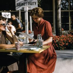 1950s women ordering at restaurant patio