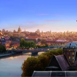Ratatouille against Paris skyline.